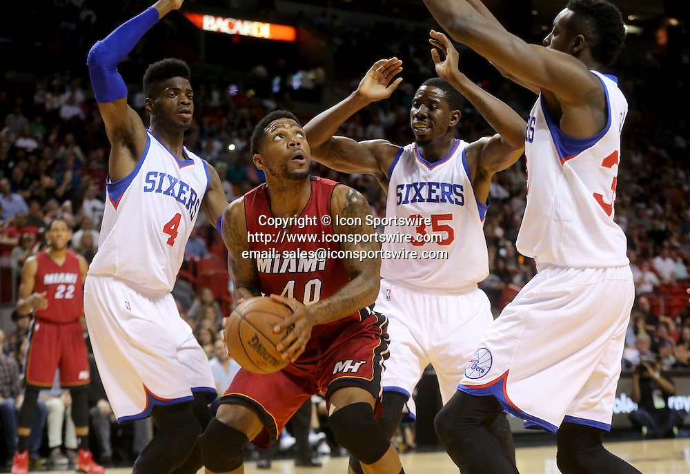 Dec. 23, 2014 - Miami, FL - Florida, USA - United States - fl-heat-76ers-1223f -Udonis Haslem of the Miami Heat goes up for a basket against the Philadelphia 76ers.