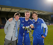 St James scorers Lyall Murdoch, James Tracey and Connor Adam with the North of Tay cup - St James (blue) v NCR (white) North of Tay Cup (sponsored by Evening Telegraph) Cup Final at Dens Park <br /> <br />  - &copy; David Young - www.davidyoungphoto.co.uk - email: davidyoungphoto@gmail.com