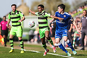 Forest Green Rovers Reece Brown(10) holds off Chesterfield's Louis Dodds(19) during the EFL Sky Bet League 2 match between Forest Green Rovers and Chesterfield at the New Lawn, Forest Green, United Kingdom on 21 April 2018. Picture by Shane Healey.