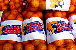 Stock photo of bags of fresh oranges ready for sale