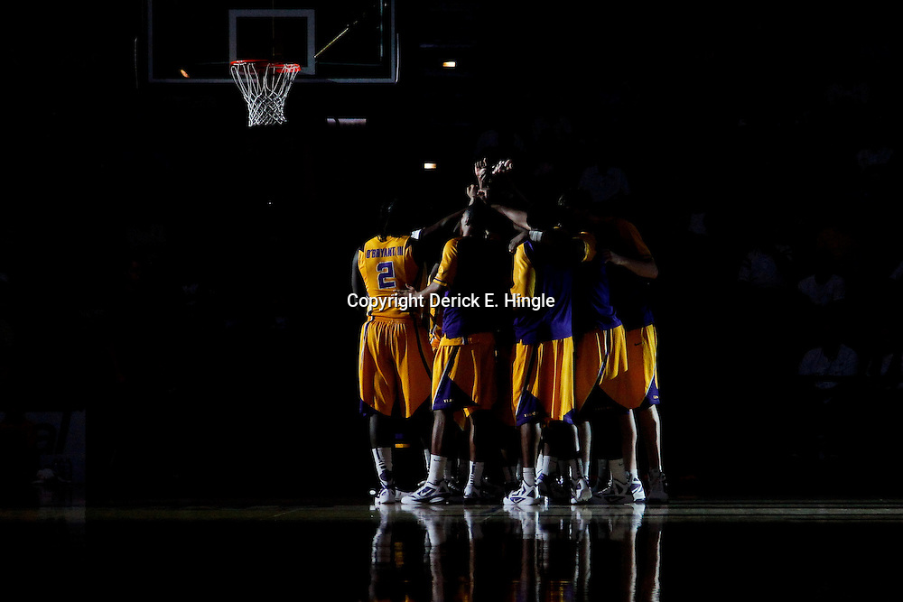 February 22, 2012; Baton Rouge, LA; LSU Tigers players huddle together before tip off of a game against the Georgia Bulldogs at the Pete Maravich Assembly Center.  Mandatory Credit: Derick E. Hingle-US PRESSWIRE