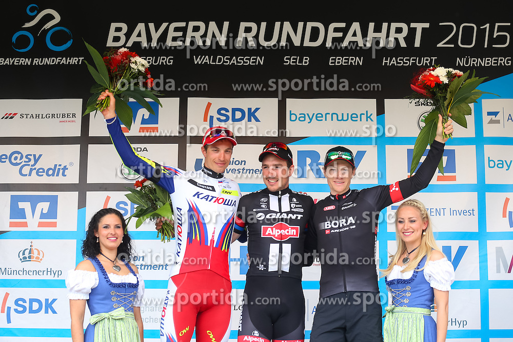 Radsport: 36. Bayern Rundfahrt 2015 / 5. Etappe, Hassfurt - Nuernberg, 17.05.2015<br /> Cycling: 36th Tour of Bavaria 2015 / Stage 5, <br /> Hassfurt - Nuernberg, 17.05.2015<br /> Siegerehrung - podium,<br /> # 46 Selig, Ruediger (GER, TEAM KATUSHA), # 51 Degenkolb, John (GER, TEAM GIANT - ALPECIN), # 112 Barta, Jan (CZE, Team BORA-ARGON 18)