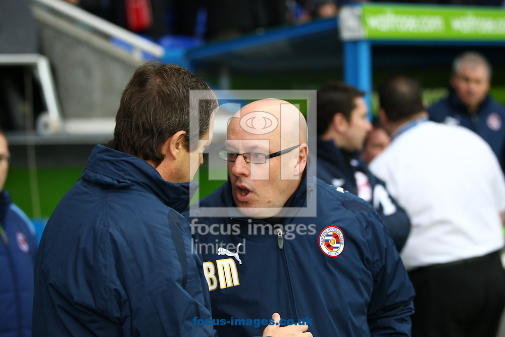Stuart Gray, manager of Burnley (L) shakes hands with Brian McDermott, manager of Reading (R) before the Npower Championship match between Reading and Burnley at the Madejski Stadium, Reading on Monday 3rd January 2011. (Photo by Andrew Tobin/Focus Images)