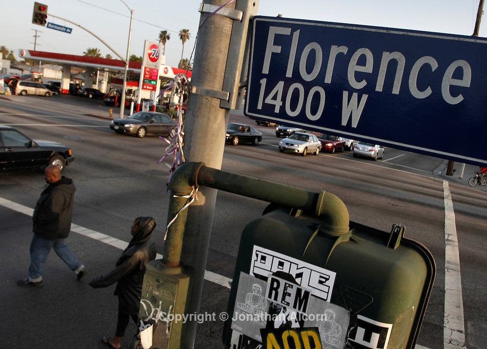 The infamous intersection of Florence and Normandie in Los Angeles, California, April 5, 2012. This April 29 will be the 20 year anniversary of the flashpoint of the Los Angeles Riots in the area of Florence and Normandie in South Los Angeles. ©Jonathan Alcorn/JTA