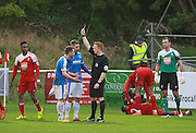 Ricky Miller receives a yellow card during the FA Trophy match between Whitehawk FC and Dover Athletic at the Enclosed Ground, Whitehawk, United Kingdom on 12 December 2015. Photo by Bennett Dean.