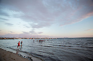 Pro Athletes Warm Up For Swim, February 9, 2014 - Triathlon : Geelong Ironman 70.3, Eastern Beach Precinct, Geelong, Victoria, Australia. Credit: Lucas Wroe