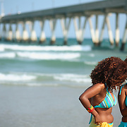 People enjoying the Beach near Johnie Mercer's Pier, Wrightsville, NC.