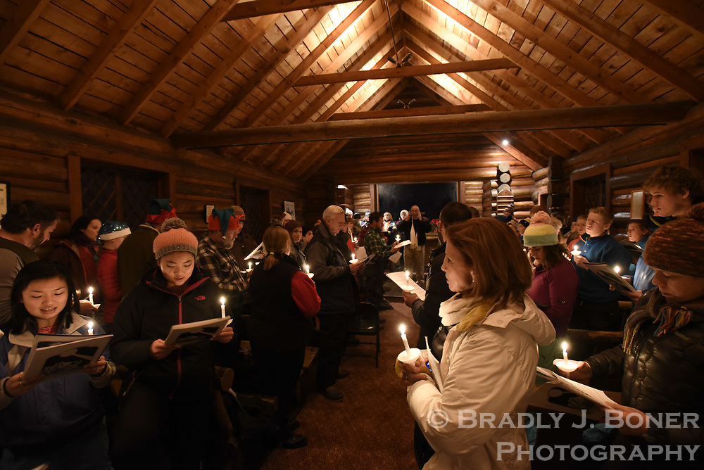 Christmas caroling at the Chapel of the Transfiguration in Grand Teton National Park