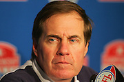 PITTSBURGH - JANUARY 23:  Head Coach Bill Belichick of the New England Patriots speaks to the press after the AFC Championship game win over the Pittsburgh Steelers at Heinz Field on January 23, 2005 in Pittsburgh, Pennsylvania. The Pats defeated the Steelers 41-27. ©Paul Anthony Spinelli  *** Local Caption *** Bill Belichick