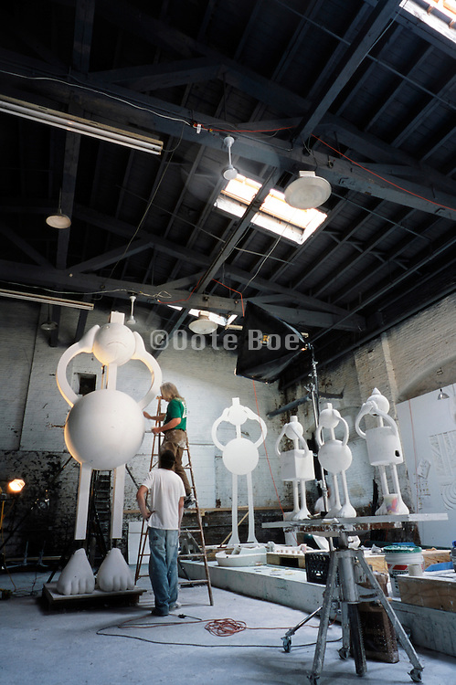 sculptor Tom Otterness studio in DUMBO with early stage of See No Evil July 2002