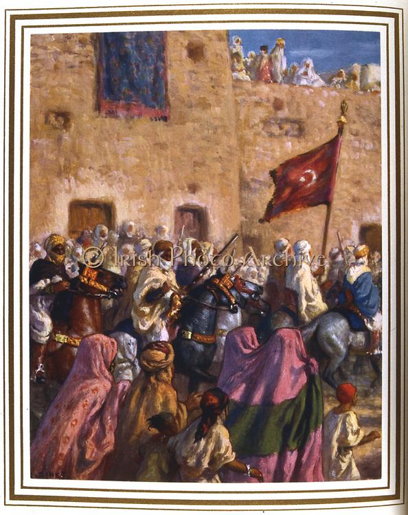 Departure for the Hajj or Holy Journey.  Illustration by E. Dinet (1861-1929) for 'La Vie de Mohammed, prophete d'Allah'.