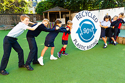 Children at Thomas's Fulham School in Fulham, West London help Delphis Eco, the leading UK manufacturer of eco-cleaning products launch its 'Plastics Pledge' initiative,  the goal of which is to persuade the UK Government to make a 'recycled plastic rating label' a mandatory requirement on all plastic packaging. LONDON, September 19 2019.