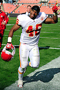Sept. 19, 2010; Cleveland, OH, USA; Kansas City Chiefs running back Tim Castille (46) celebrates as he makes his way off the field after a 16-14 win over the Cleveland Browns at Cleveland Browns Stadium. Mandatory Credit: Jason Miller-US PRESSWIRE