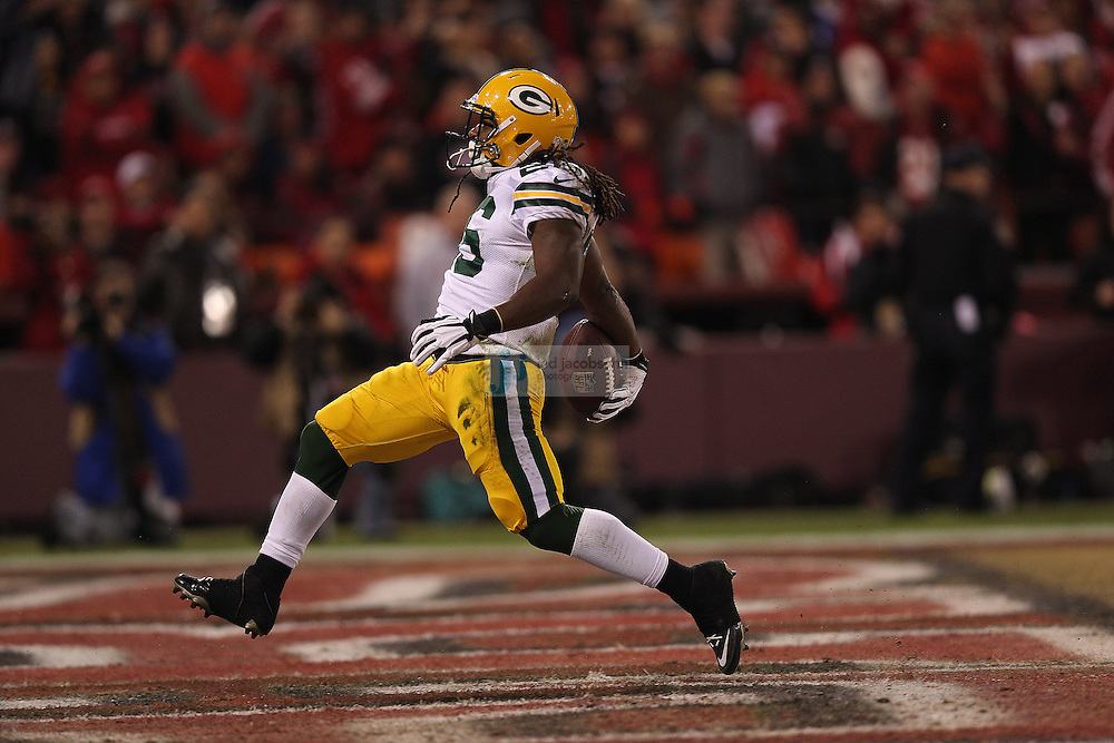 Green Bay Packers running back DuJuan Harris (26) runs for a touchdown during a NFL Divisional playoff game against the San Francisco 49ers at Candlestick Park in San Francisco, Calif., on Jan. 12, 2013. The 49ers defeated the Packers 45-31. (AP Photo/Jed Jacobsohn)