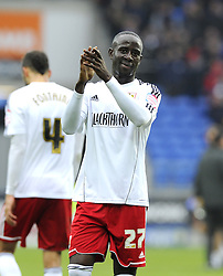 Bristol City's Albert Adomah thank's the travelling support - Photo mandatory by-line: Joe Meredith/JMP - Tel: Mobile: 07966 386802 16/02/2013 - SPORT - FOOTBALL - Cardiff City Stadium - Cardiff -  Cardiff City V Bristol City - Npower Championship