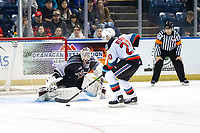 KELOWNA, BC - JANUARY 4: Matthew Wedman #20 of the Kelowna Rockets takes a shot on David Tendeck #30 of the Vancouver Giants during the shoot out at Prospera Place on January 4, 2020 in Kelowna, Canada. (Photo by Marissa Baecker/Shoot the Breeze)