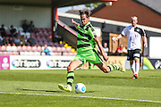 Forest Green Rovers Darren Carter (12) takes a shot at goal  during the Vanarama National League match between Boreham Wood and Forest Green Rovers at Meadow Park, Boreham Wood, United Kingdom on 6 August 2016. Photo by Shane Healey.
