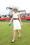 The winner of the Anthony Ryans Best Hat Competition  Alex Butler  at the ladies day of The Galway Races. Photo:Andrew Downes