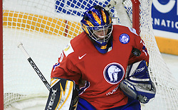 Goalkeeper of Norway Ruben Smith at ice-hockey game Norway vs USA at Qualifying round Group F of IIHF WC 2008 in Halifax, on May 12, 2008 in Metro Center, Halifax, Nova Scotia, Canada. USA won 11:1. (Photo by Vid Ponikvar / Sportal Images)
