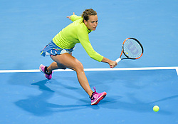 DOHA, Feb. 15, 2019  Barbora Strycova of the Czech Republic hits a return during the women's singles quarterfinal between Barbora Strycova of the Czech Republic and Angelique Kerber of Germany at the 2019 WTA Qatar Open in Doha, Qatar, Feb. 14, 2019. Barbora Strycova lost 1-2. (Credit Image: © Nikku/Xinhua via ZUMA Wire)