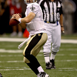 August 21, 2010; New Orleans, LA, USA; New Orleans Saints quarterback Drew Brees (9) during a 38-20 win by the New Orleans Saints over the Houston Texans during a preseason game at the Louisiana Superdome. Mandatory Credit: Derick E. Hingle