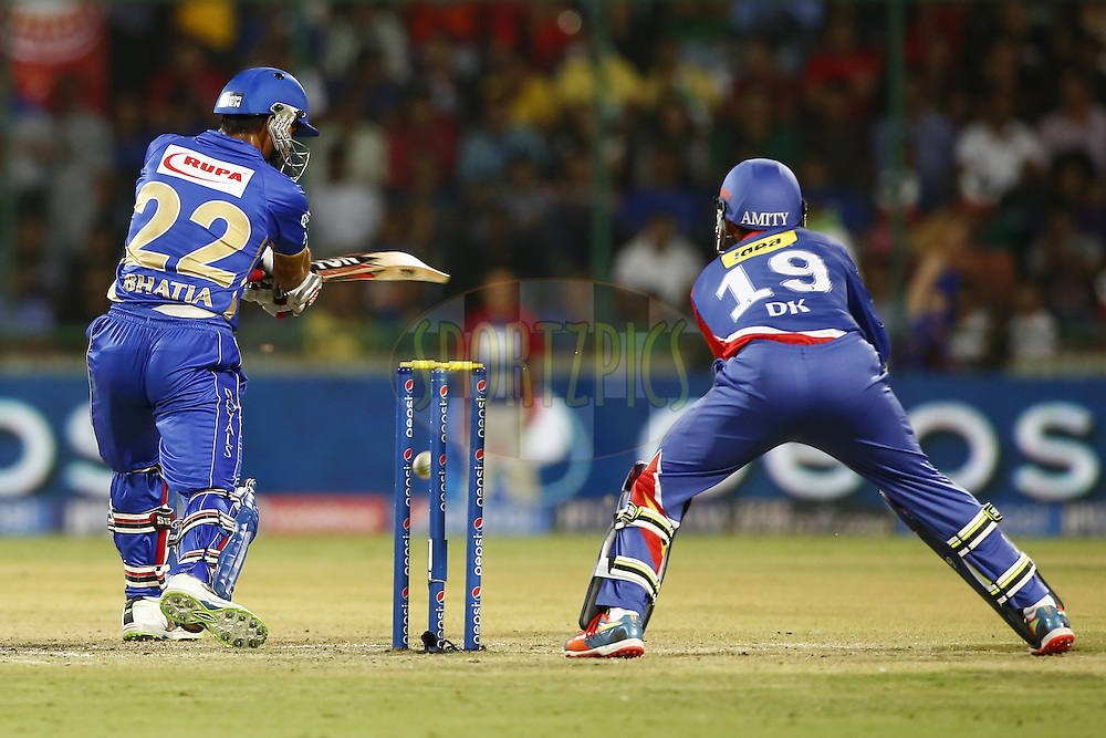 Rajat Bhatia of the Rajatshan Royals in action during match 23 of the Pepsi Indian Premier League Season 2014 between the Delhi Daredevils and the Rajasthan Royals held at the Feroze Shah Kotla cricket stadium, Delhi, India on the 3rd May  2014<br /> <br /> Photo by Deepak Malik / IPL / SPORTZPICS<br /> <br /> <br /> <br /> Image use subject to terms and conditions which can be found here:  http://sportzpics.photoshelter.com/gallery/Pepsi-IPL-Image-terms-and-conditions/G00004VW1IVJ.gB0/C0000TScjhBM6ikg