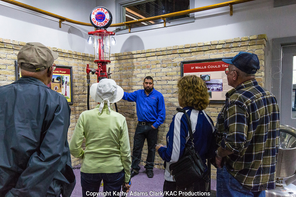 Visitors listen to a staff member during a tour of the Old Hidalgo Pumphouse.  The Pumphouse was opened as a museum and nature center in 1999.