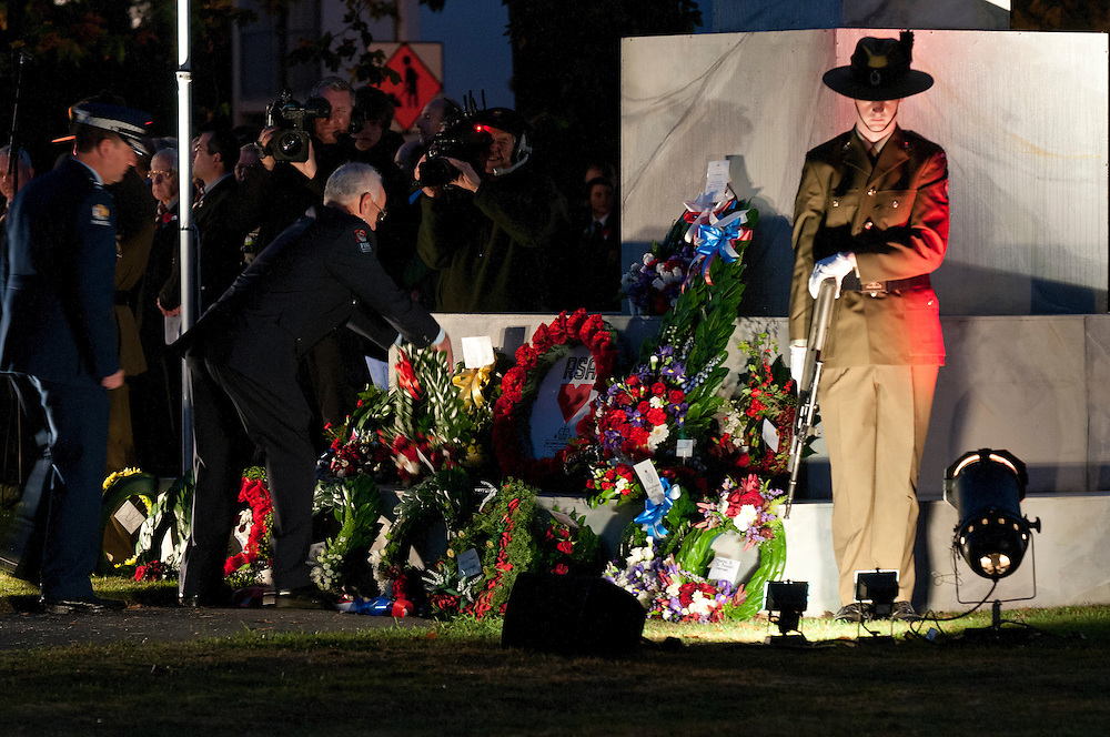 Wreaths laid at the Dawn ANZAC Service, Christchurch, New Zealand, Wednesday April 25, 2012. Credit: SNPA /  David Alexander.