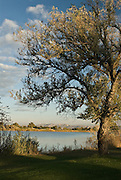 Idaho, Cassia County, Burley. View of the Snake River from public park with the Cotterel Mountains beyond.
