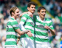 24/05/15 SCOTTISH PREMIERSHIP<br /> CELTIC v INVERNESS CT<br /> CELTIC PARK - GLASGOW<br /> Celtic's Stefan Scepovic (right) celebrates his goal with team-mates Nir Bitton (centre) and Stefan Johansen