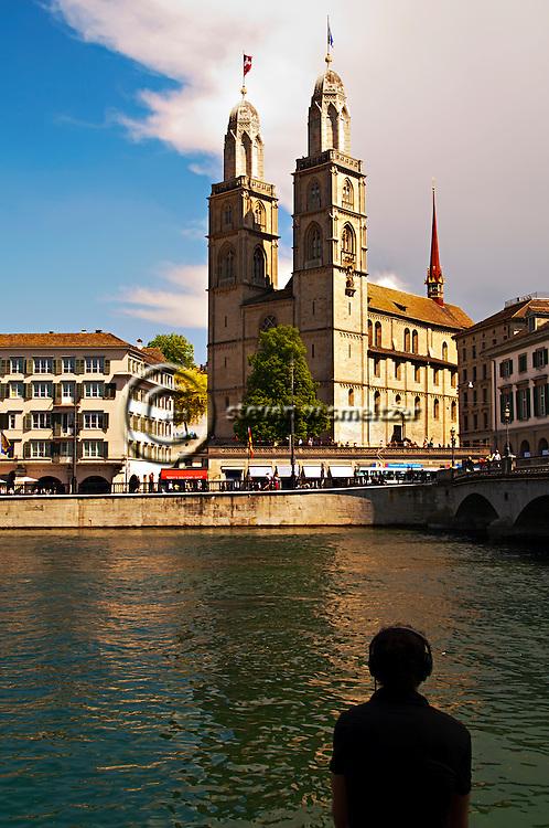 Contemplating Grossmunster, Summer Zurich Switzerland