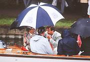 Henley on Thames,  United Kingdom, Umpires launch, Facing and under umbrella left HRH Princess Anne and right John Pritchard, 1988 Henley Royal Regatta, Henley Reach, Thames Valley, British Summertime.<br /> [Mandatory Credit, Peter SPURRIER/Intersport Images]