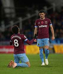 Felipe Anderson of West Ham United celebrates scoring his sides first goal - Mandatory by-line: Jack Phillips/JMP - 10/11/2018 - FOOTBALL - The John Smith's Stadium - Huddersfield, England - Huddersfield Town v West Ham United - English Premier League