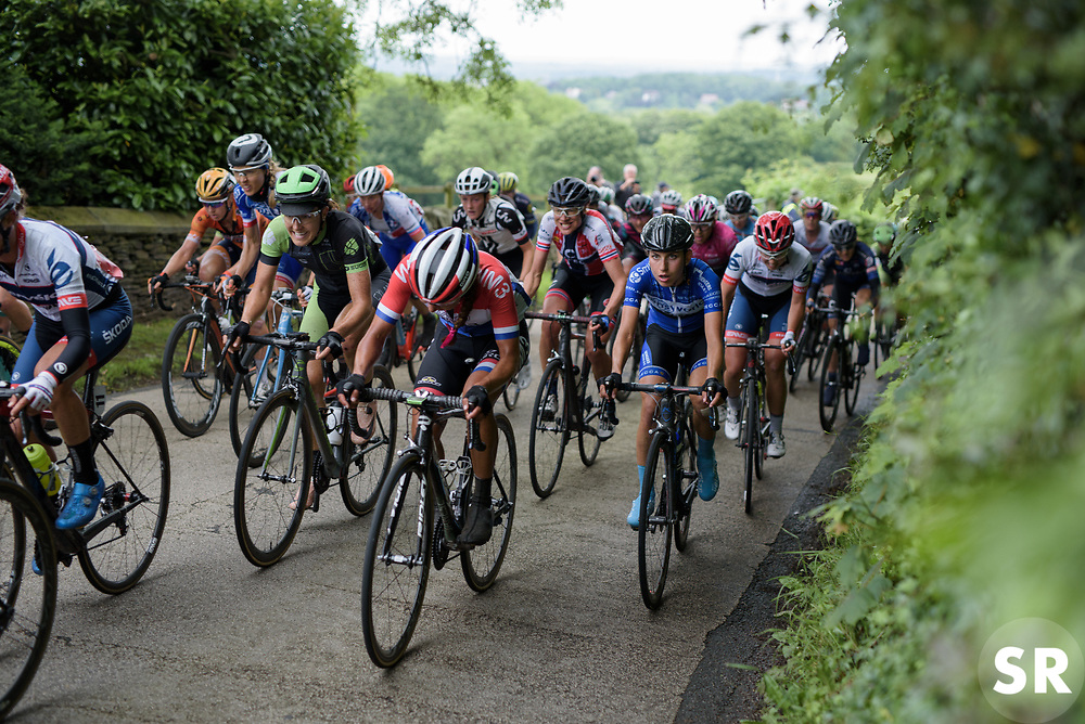 Remains of the peloton battle up the final climb of the day - Stage 4 of the OVO Energy Women's Tour - a 123 km road race, starting and finishing in Chesterfield on June 10, 2017, in Derbyshire, United Kingdom. (Photo by Sean Robinson/Velofocus.com)
