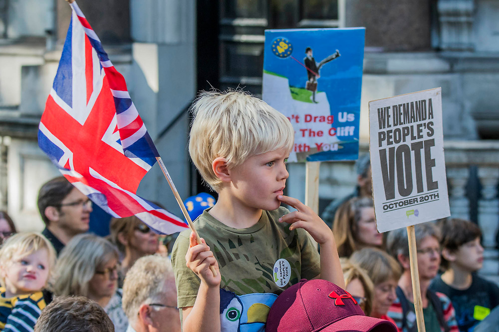 The march which was estimated to total over 650,000 heads up Piccadilly - The People's Vote March For The Future demanding a Vote on any Brexit deal. The protest assembled on Park Lane and then marched to Parliament Square for speeches.