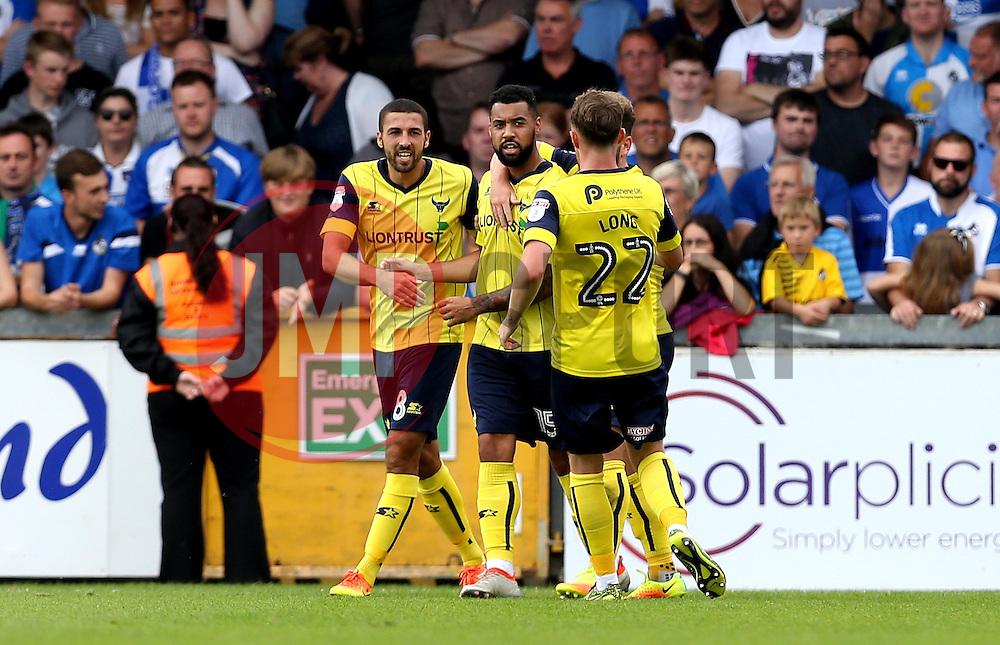 Oxford United celebrate Kane Hemmings's goal against Bristol Rovers - Mandatory by-line: Robbie Stephenson/JMP - 14/08/2016 - FOOTBALL - Memorial Stadium - Bristol, England - Bristol Rovers v Oxford United - Sky Bet League One