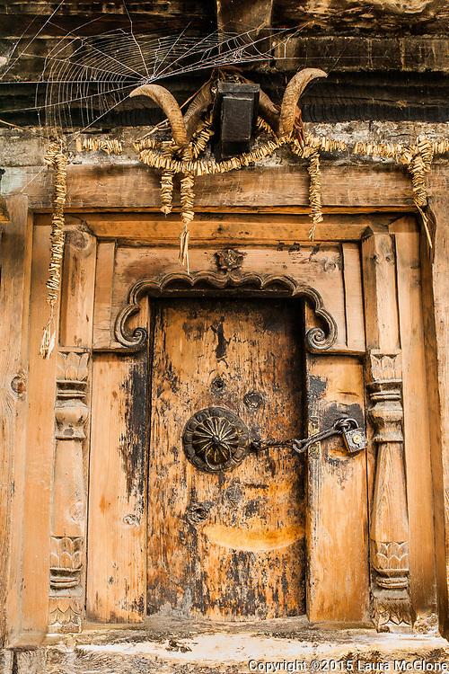 Unique Doorway in India with Spiderweb, horns HImachal Pradesh Travel