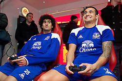 LIVERPOOL, ENGLAND - Tuesday, December 13, 2011: Everton's Marouane Fellaini and Tim Cahill photographed during an EA Sports FIFA 2012 event at the club's Finch Farm training complex. (Pic by David Rawcliffe/Propaganda)