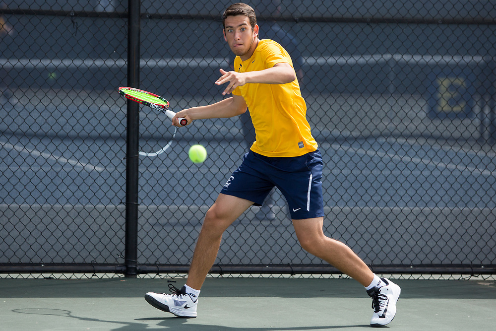 April 14, 2017 - Johnson City, Tennessee - Dave Mullins Tennis Complex: Miguel Este<br /> <br />  Image Credit: Dakota Hamilton/ETSU