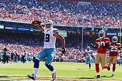 September 18, 2011; San Francisco, CA, USA; Dallas Cowboys wide receiver Miles Austin (19) celebrates after scoring a touchdown against the San Francisco 49ers during the second quarter at Candlestick Park.