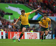 Australia's fly half Bernard Foley scoring a penalty to the the score 3-3 during the Rugby World CupPool A match between Australia and Wales at Twickenham, Richmond, United Kingdom on 10 October 2015. Photo by Matthew Redman.