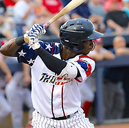 July 5, 2017 - Trenton, New Jersey, U.S - JORGE MATEO of the Yankees' double-A affiliate Trenton Thunder at bat in the game here at ARM & HAMMER Park tonight vs. the Fightin Phils. The Thunder were wearing patriotic jerseys for the July 4th and 5th games. (Credit Image: © Staton Rabin via ZUMA Wire)