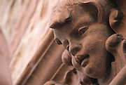 An angel's face adorns the wall of a building on Smålandsgatan in Stockholm, Sweden.
