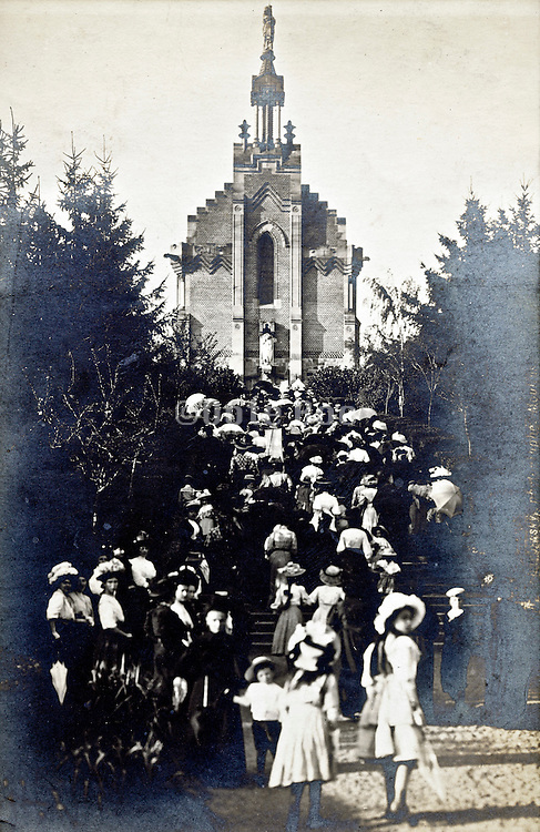 large crowd going to church France early 1900s