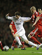Gonzalo Higuain bursts through the Liverpool defence..Uefa Champions League, First knock-out round, second leg.Liverpool v Real Madrid.Anfield..10.03.09.