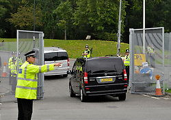 © Licensed to London News Pictures. 04/09/2014. Bristol, UK.  Police at the entrance to Celtic Manor at the NATO summit being held at The Celtic Manor resort at Newport. Photo credit : Simon Chapman/LNP