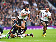 Fijian Benito Masivelu on the attack in the first half during the Autumn International Series match between England and Fiji at Twickenham, Richmond, United Kingdom on 19 November 2016. Photo by Ian  Muir.