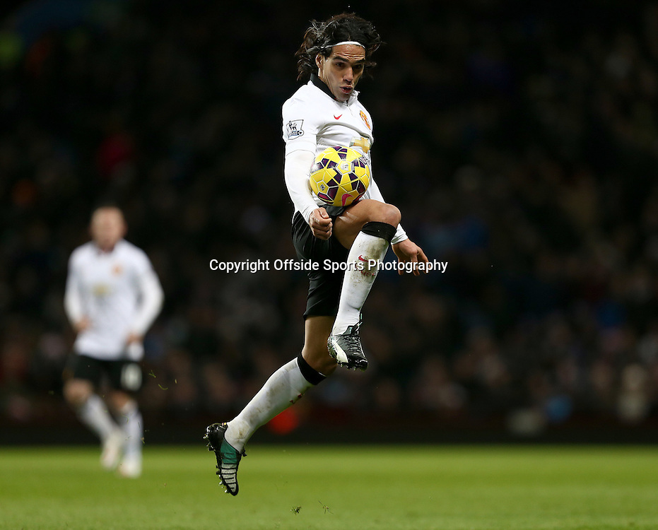 20th December 2014 - Barclays Premier League - Aston Villa v Manchester United - Radamel Falcao of Manchester United controls the ball - Photo: Paul Roberts / Offside.