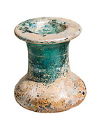A heavy green glass inkwell 1st century CE 6.3 cm high