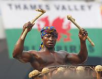 Photo: Steve Bond/Richard Lane Photography.<br />Ghana v Guinea. Africa Cup of Nations. 20/01/2008. Ghana drummer in front of the Welsh / Cardiff City flag!